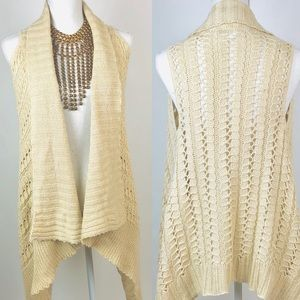 Say What? Sweaters - Asymm Loose Knit Eyelet Shrug/Sweater Vest